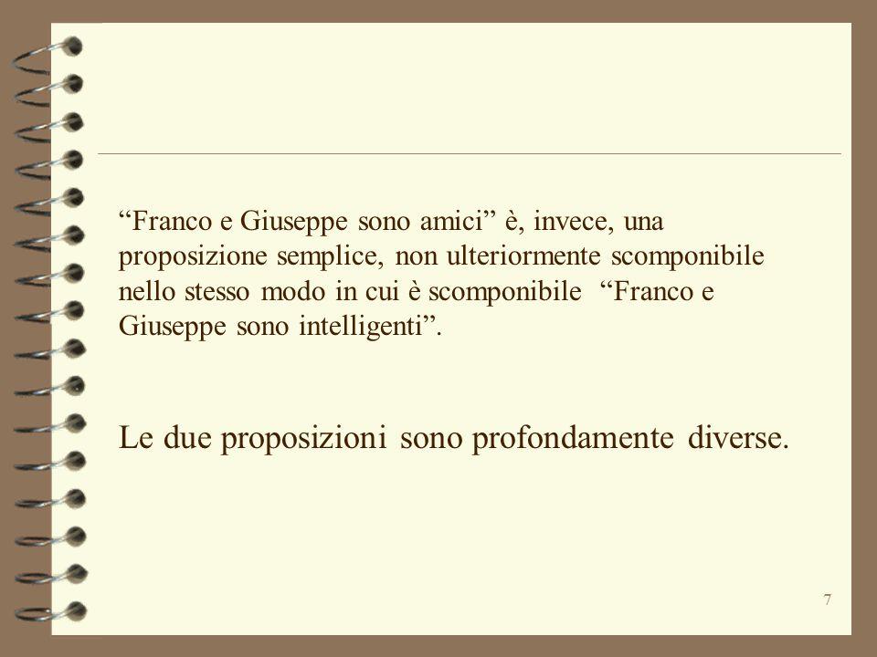 """7 """"Franco e Giuseppe sono amici"""" è, invece, una proposizione semplice, non ulteriormente scomponibile nello stesso modo in cui è scomponibile """"Franco"""
