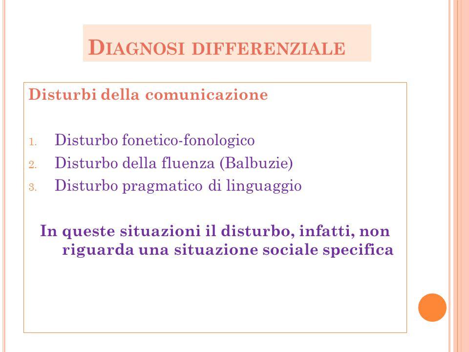 D IAGNOSI DIFFERENZIALE Disturbi della comunicazione 1. Disturbo fonetico-fonologico 2. Disturbo della fluenza (Balbuzie) 3. Disturbo pragmatico di li