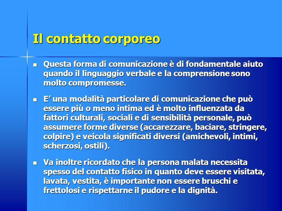 Il contatto corporeo Questa forma di comunicazione è di fondamentale aiuto quando il linguaggio verbale e la comprensione sono molto compromesse. Ques