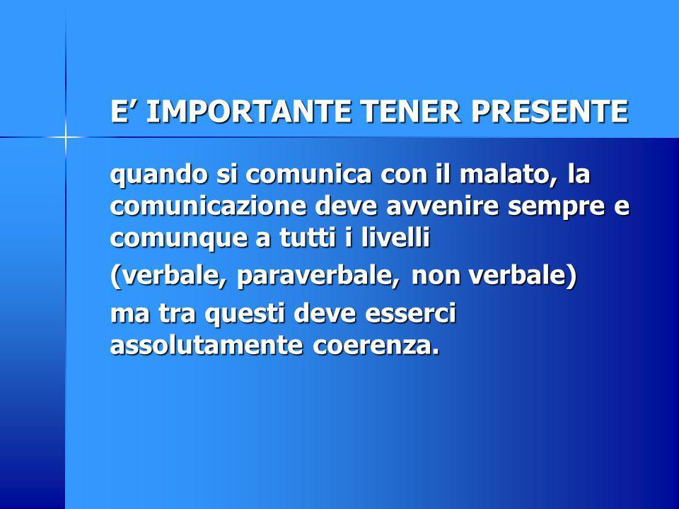 E' IMPORTANTE TENER PRESENTE quando si comunica con il malato, la comunicazione deve avvenire sempre e comunque a tutti i livelli (verbale, paraverbal