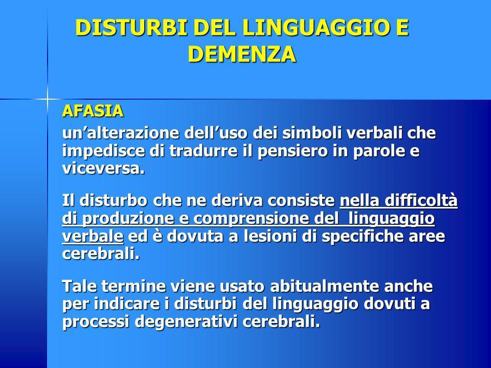 DISTURBI DEL LINGUAGGIO E DEMENZA AFASIA un'alterazione dell'uso dei simboli verbali che impedisce di tradurre il pensiero in parole e viceversa. Il d