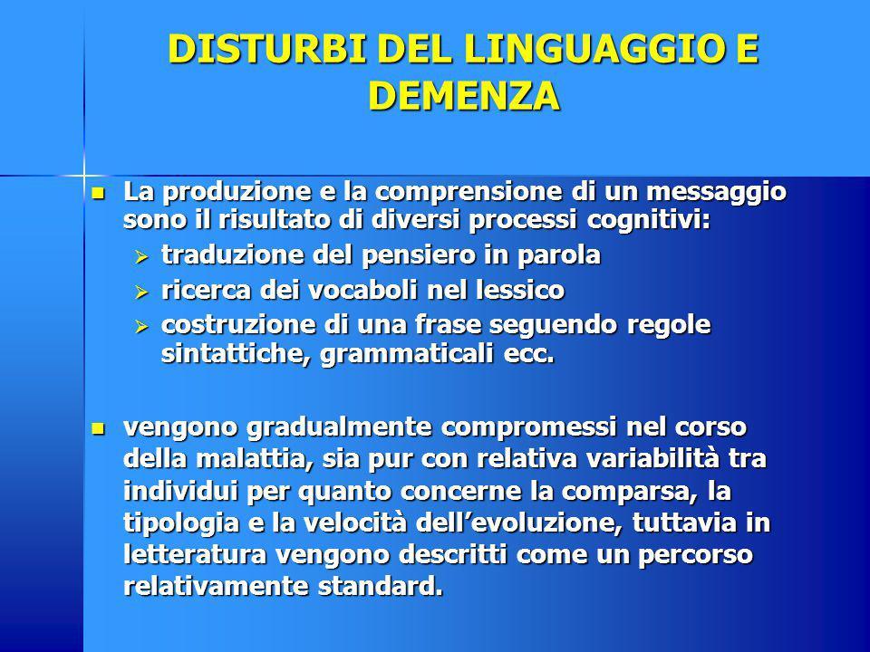 DISTURBI DEL LINGUAGGIO E DEMENZA La produzione e la comprensione di un messaggio sono il risultato di diversi processi cognitivi: La produzione e la