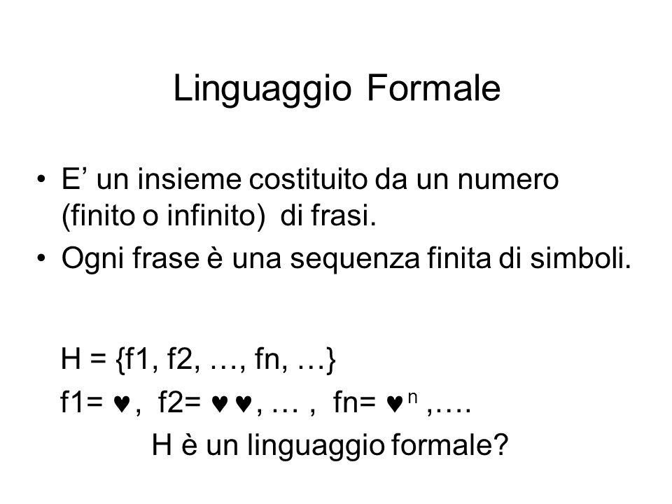 Linguaggio Formale E' un insieme costituito da un numero (finito o infinito) di frasi. Ogni frase è una sequenza finita di simboli. H = {f1, f2, …, fn