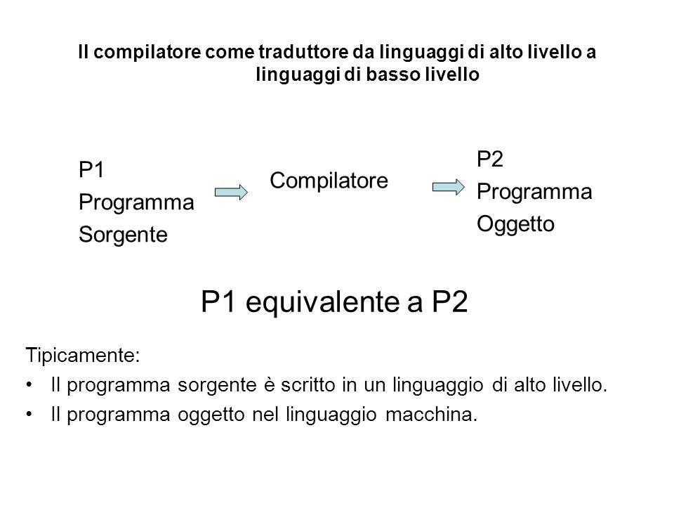 Il compilatore come traduttore da linguaggi di alto livello a linguaggi di basso livello Tipicamente: Il programma sorgente è scritto in un linguaggio