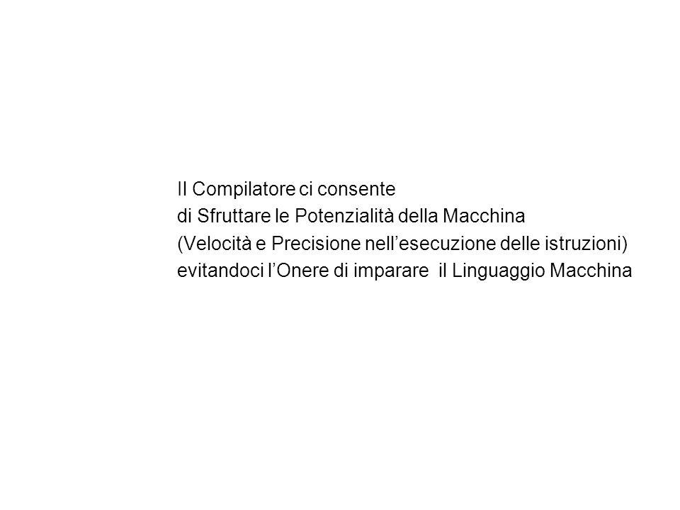 Il Compilatore ci consente di Sfruttare le Potenzialità della Macchina (Velocità e Precisione nell'esecuzione delle istruzioni) evitandoci l'Onere di