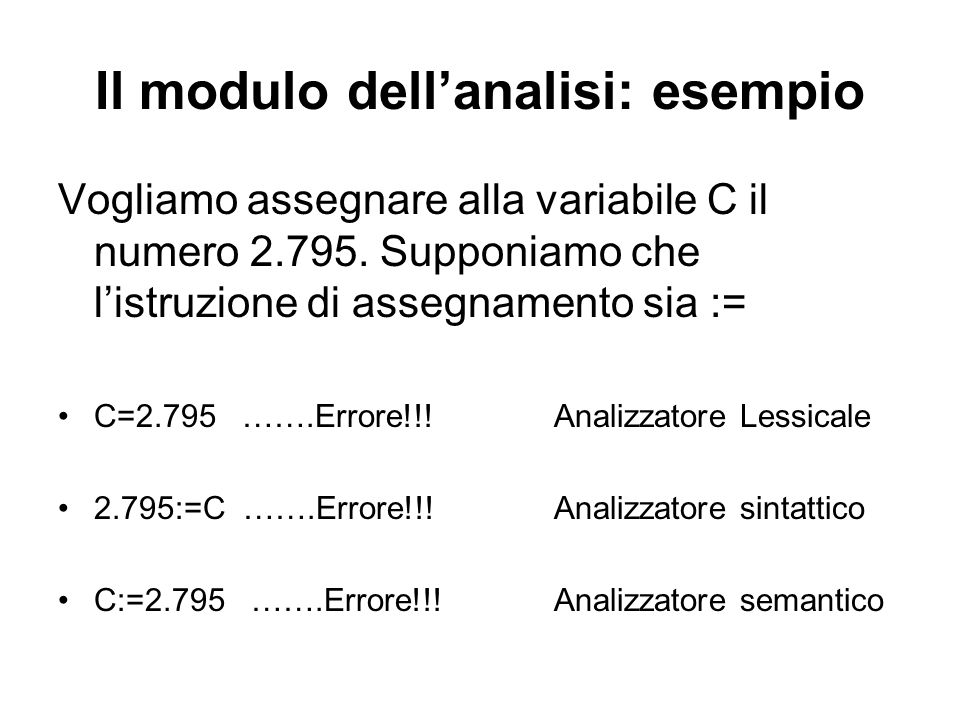 Il modulo dell'analisi: esempio Vogliamo assegnare alla variabile C il numero 2.795. Supponiamo che l'istruzione di assegnamento sia := C=2.795 …….Err
