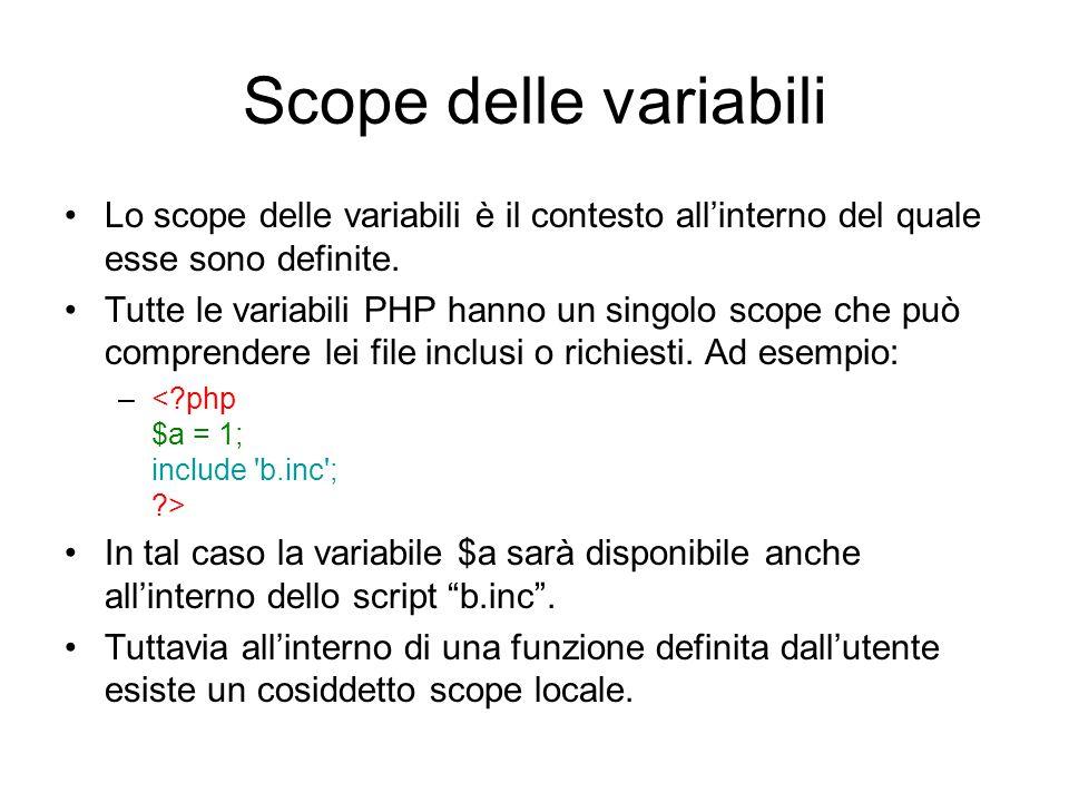 Scope delle variabili Lo scope delle variabili è il contesto all'interno del quale esse sono definite. Tutte le variabili PHP hanno un singolo scope c