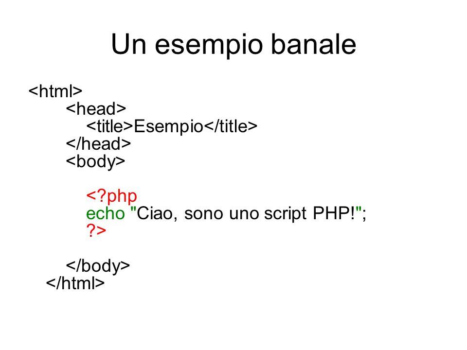 Commenti In PHP i commenti nel codice si possono esprimere in tre diversi modi: /* ….*/ come nel linguaggio C; // come nel linguaggio C++; # come nel linguaggio Perl o nello scripting di shell di Unix.