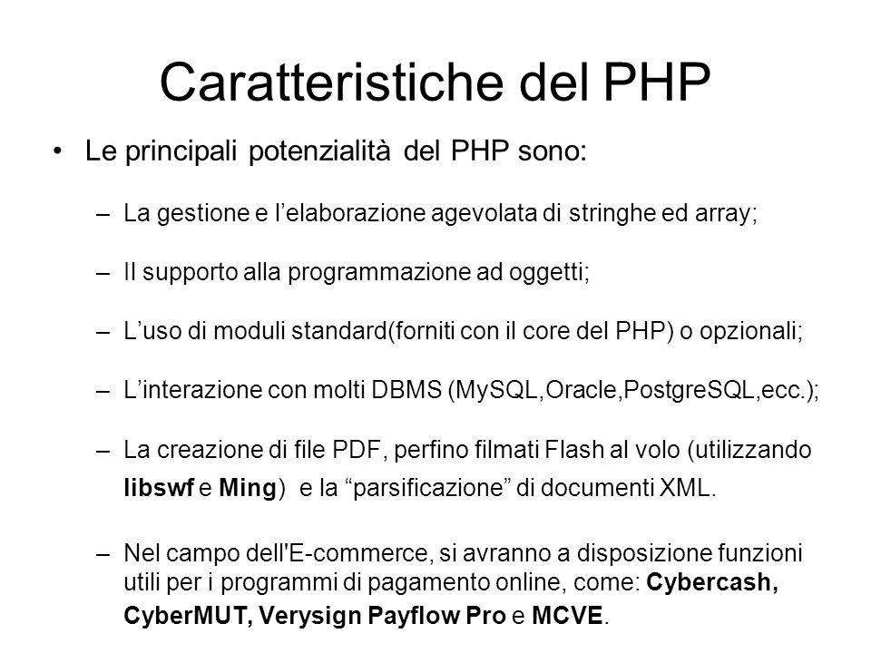 Caratteristiche del PHP Le principali potenzialità del PHP sono: –La gestione e l'elaborazione agevolata di stringhe ed array; –Il supporto alla progr