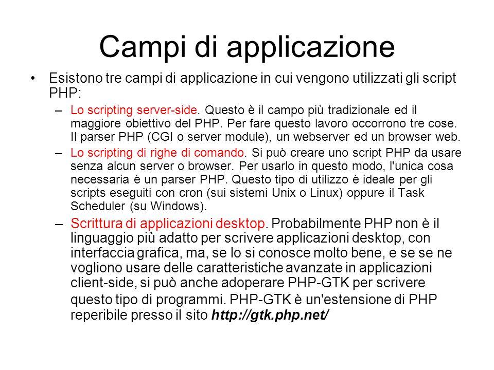 Campi di applicazione Esistono tre campi di applicazione in cui vengono utilizzati gli script PHP: –Lo scripting server-side. Questo è il campo più tr