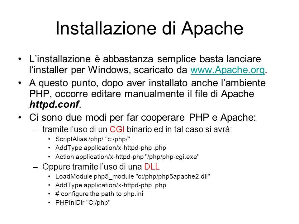 Installazione di Apache L'installazione è abbastanza semplice basta lanciare l'installer per Windows, scaricato da www.Apache.org.www.Apache.org A que