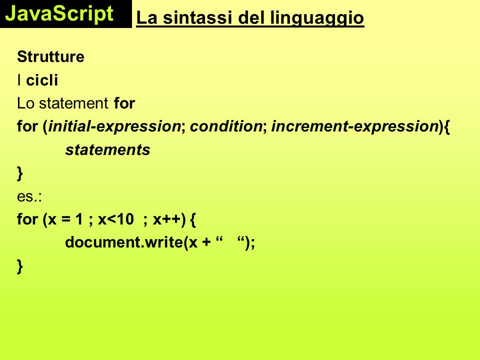 La sintassi del linguaggio Strutture I cicli Lo statement for for (initial-expression; condition; increment-expression){ statements } es.: for (x = 1