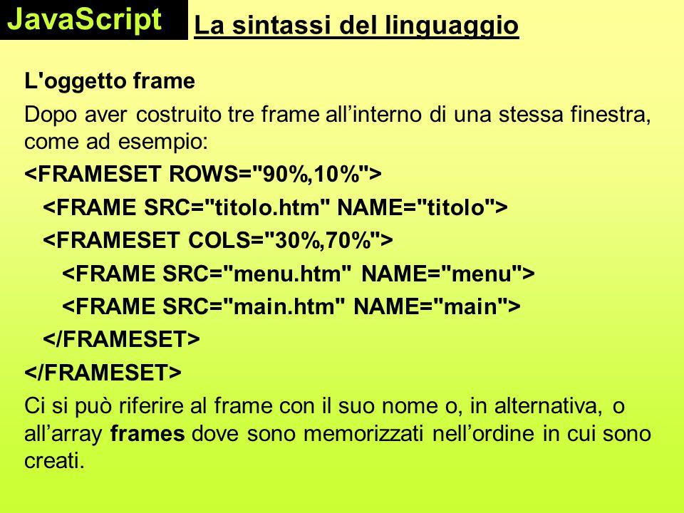 La sintassi del linguaggio L'oggetto frame Dopo aver costruito tre frame all'interno di una stessa finestra, come ad esempio: Ci si può riferire al fr