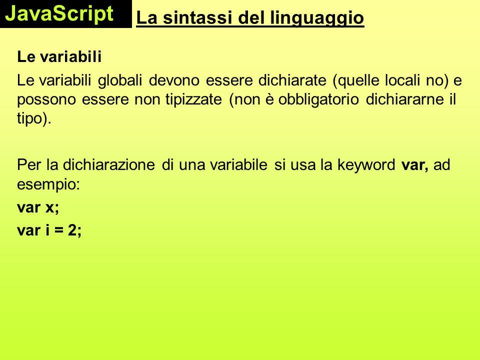 La sintassi del linguaggio Le variabili Le variabili globali devono essere dichiarate (quelle locali no) e possono essere non tipizzate (non è obbliga