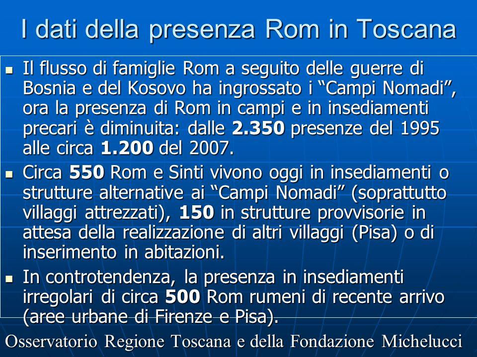 """I dati della presenza Rom in Toscana Il flusso di famiglie Rom a seguito delle guerre di Bosnia e del Kosovo ha ingrossato i """"Campi Nomadi"""", ora la pr"""