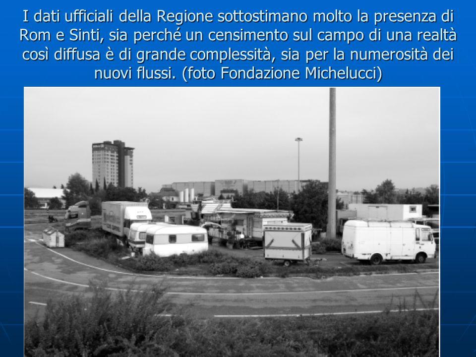 I dati ufficiali della Regione sottostimano molto la presenza di Rom e Sinti, sia perché un censimento sul campo di una realtà così diffusa è di grand