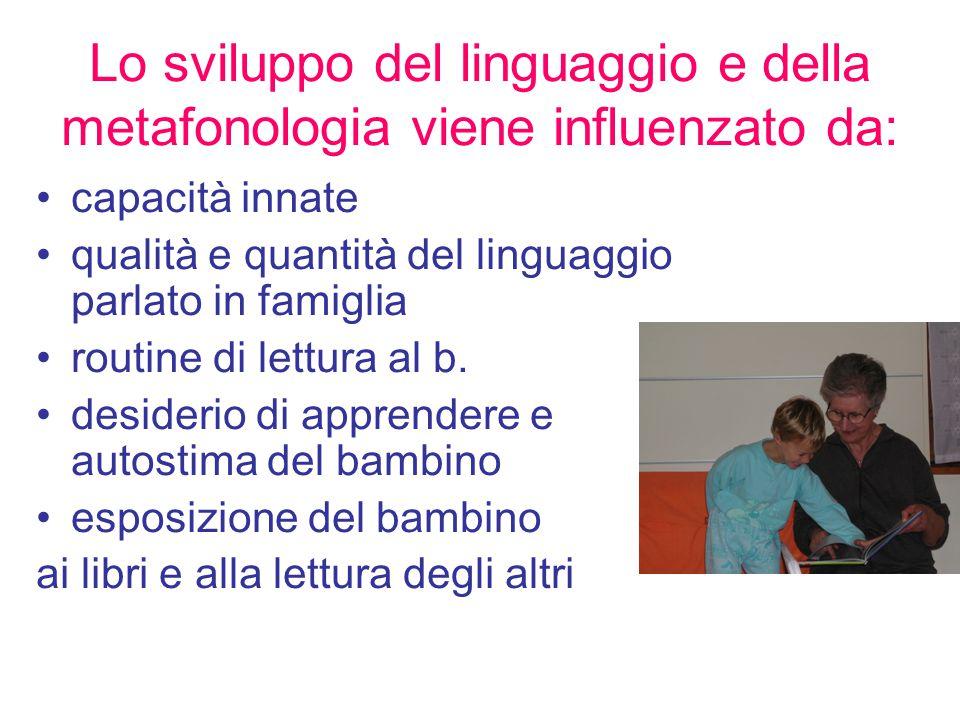 capacità innate qualità e quantità del linguaggio parlato in famiglia routine di lettura al b. desiderio di apprendere e autostima del bambino esposiz