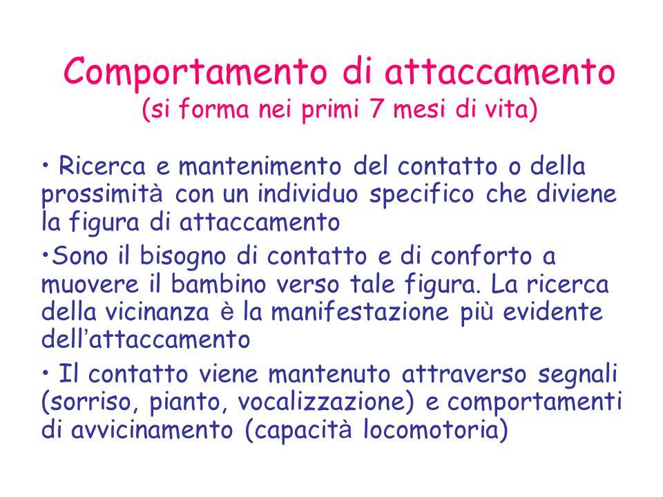 Comportamento di attaccamento (si forma nei primi 7 mesi di vita)  Ricerca e mantenimento del contatto o della prossimit à con un individuo specifico