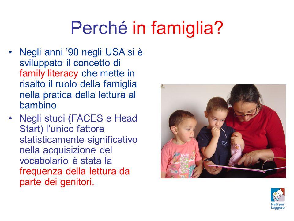 Perché in famiglia? Negli anni '90 negli USA si è sviluppato il concetto di family literacy che mette in risalto il ruolo della famiglia nella pratica