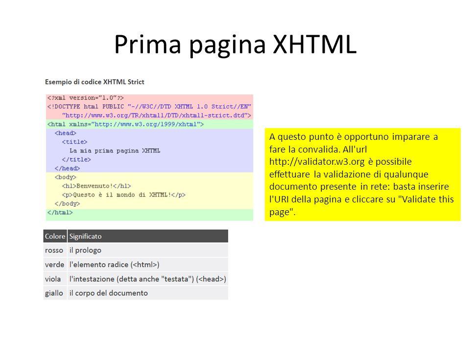 Prima pagina XHTML A questo punto è opportuno imparare a fare la convalida. All'url http://validator.w3.org è possibile effettuare la validazione di q
