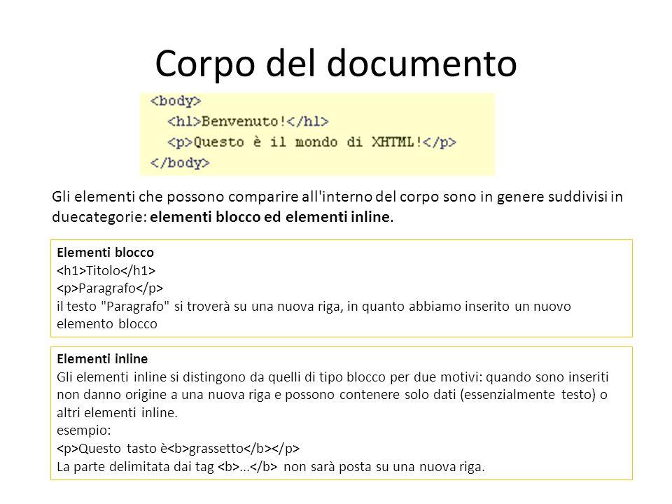 Corpo del documento Gli elementi che possono comparire all'interno del corpo sono in genere suddivisi in duecategorie: elementi blocco ed elementi inl