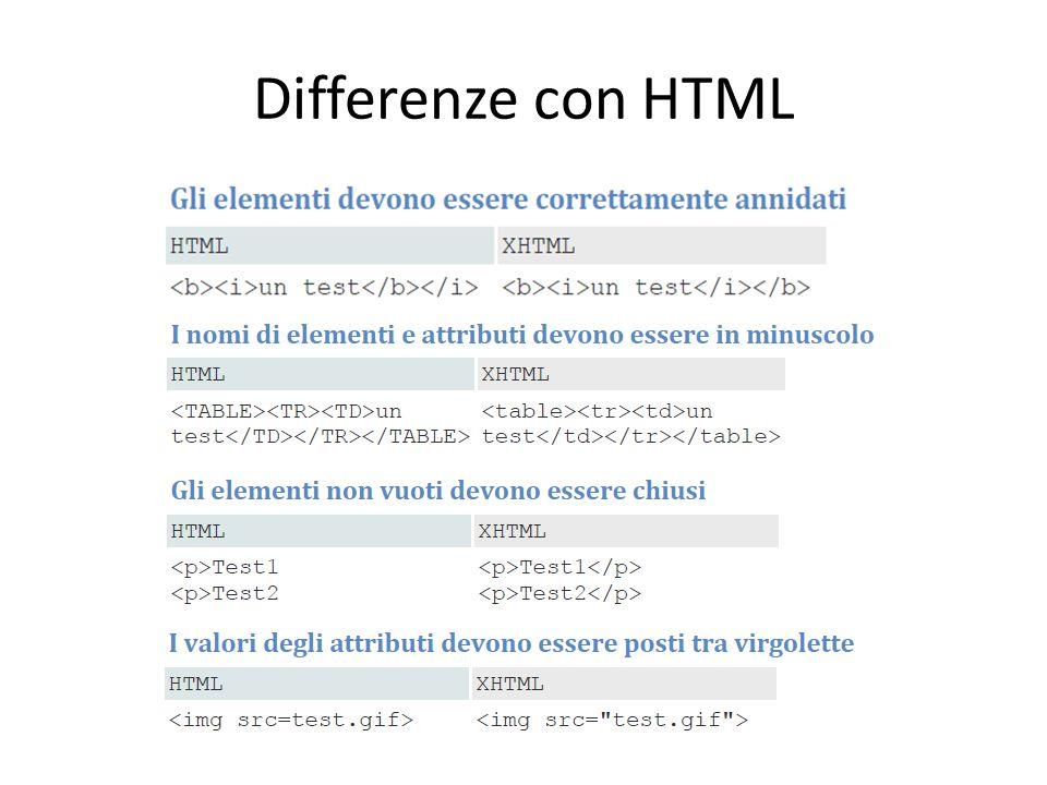 Differenze con HTML