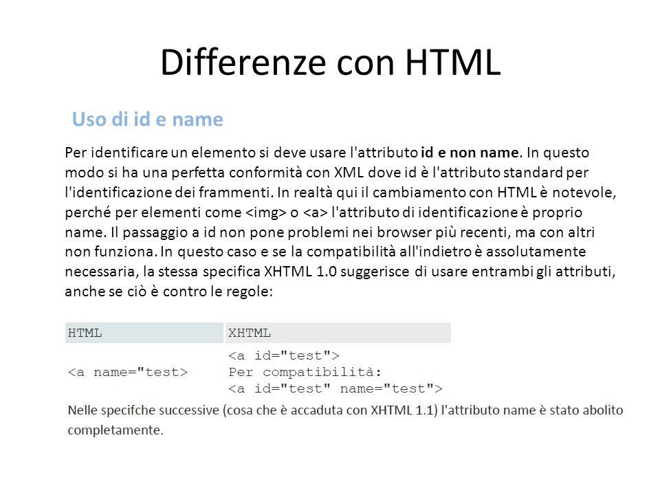 Per identificare un elemento si deve usare l'attributo id e non name. In questo modo si ha una perfetta conformità con XML dove id è l'attributo stand