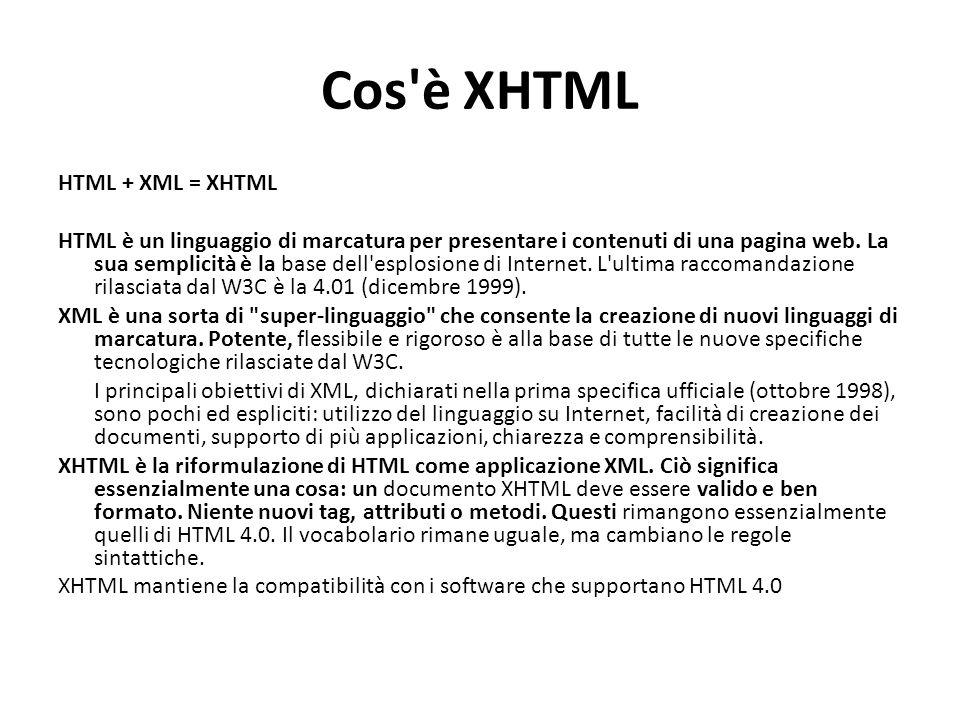 Cos'è XHTML HTML + XML = XHTML HTML è un linguaggio di marcatura per presentare i contenuti di una pagina web. La sua semplicità è la base dell'esplos