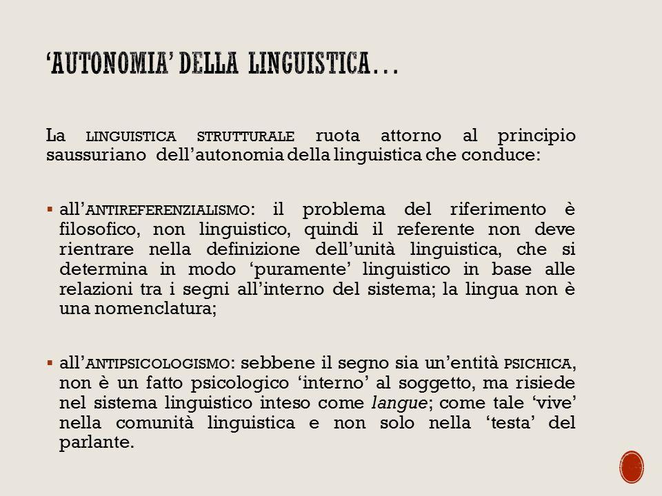 La LINGUISTICA STRUTTURALE ruota attorno al principio saussuriano dell'autonomia della linguistica che conduce:  all' ANTIREFERENZIALISMO : il problema del riferimento è filosofico, non linguistico, quindi il referente non deve rientrare nella definizione dell'unità linguistica, che si determina in modo 'puramente' linguistico in base alle relazioni tra i segni all'interno del sistema; la lingua non è una nomenclatura;  all' ANTIPSICOLOGISMO : sebbene il segno sia un'entità PSICHICA, non è un fatto psicologico 'interno' al soggetto, ma risiede nel sistema linguistico inteso come langue; come tale 'vive' nella comunità linguistica e non solo nella 'testa' del parlante.