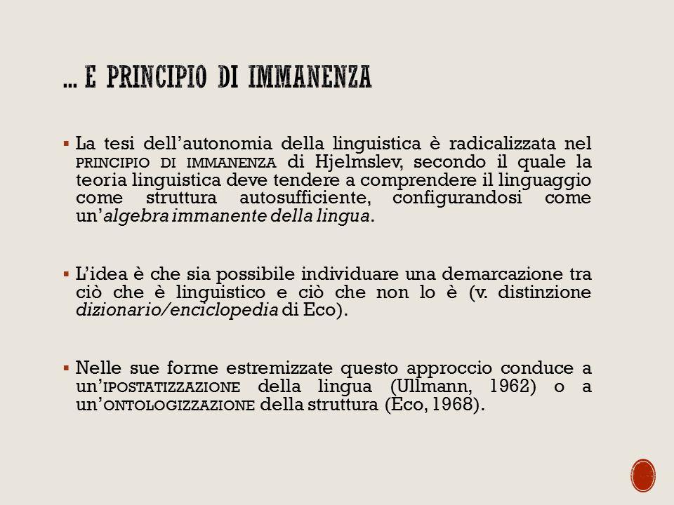  La tesi dell'autonomia della linguistica è radicalizzata nel PRINCIPIO DI IMMANENZA di Hjelmslev, secondo il quale la teoria linguistica deve tendere a comprendere il linguaggio come struttura autosufficiente, configurandosi come un'algebra immanente della lingua.
