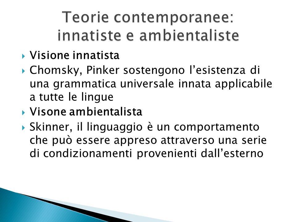  Visione innatista  Chomsky, Pinker sostengono l'esistenza di una grammatica universale innata applicabile a tutte le lingue  Visone ambientalista  Skinner, il linguaggio è un comportamento che può essere appreso attraverso una serie di condizionamenti provenienti dall'esterno