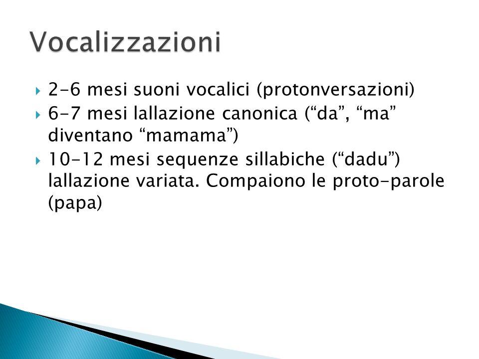 """ 2-6 mesi suoni vocalici (protonversazioni)  6-7 mesi lallazione canonica (""""da"""", """"ma"""" diventano """"mamama"""")  10-12 mesi sequenze sillabiche (""""dadu"""")"""