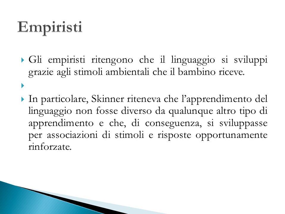  Gli empiristi ritengono che il linguaggio si sviluppi grazie agli stimoli ambientali che il bambino riceve.   In particolare, Skinner riteneva che