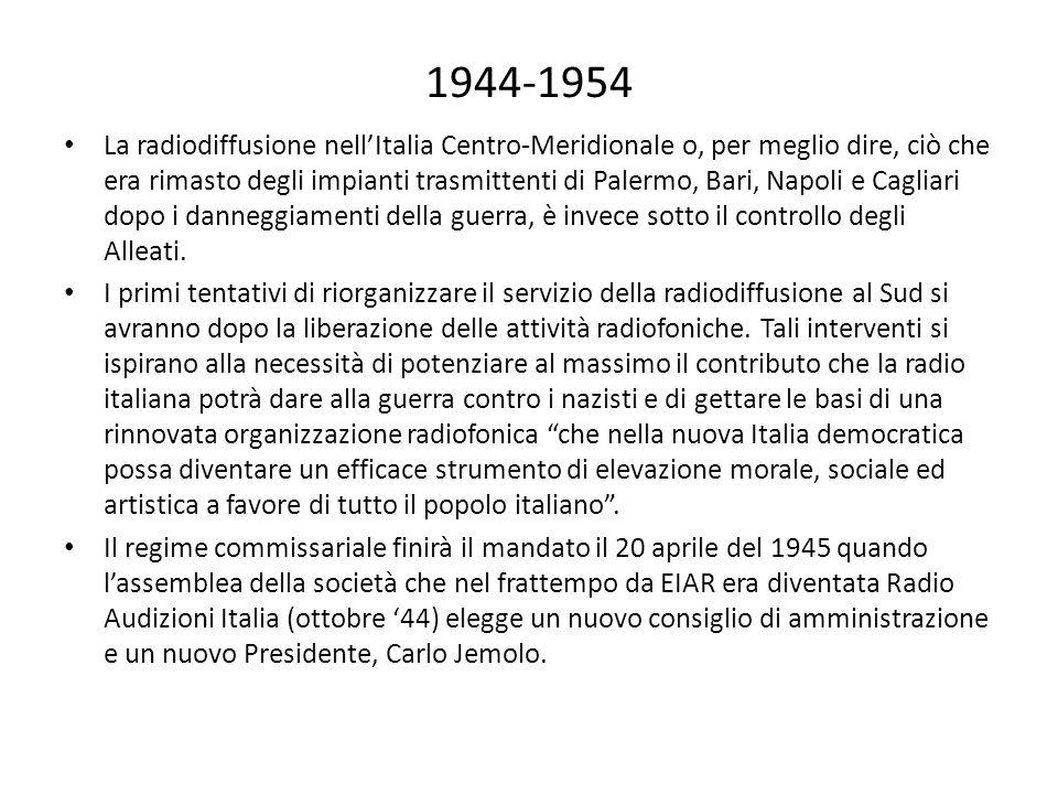 1944-1954 La radiodiffusione nell'Italia Centro-Meridionale o, per meglio dire, ciò che era rimasto degli impianti trasmittenti di Palermo, Bari, Napoli e Cagliari dopo i danneggiamenti della guerra, è invece sotto il controllo degli Alleati.