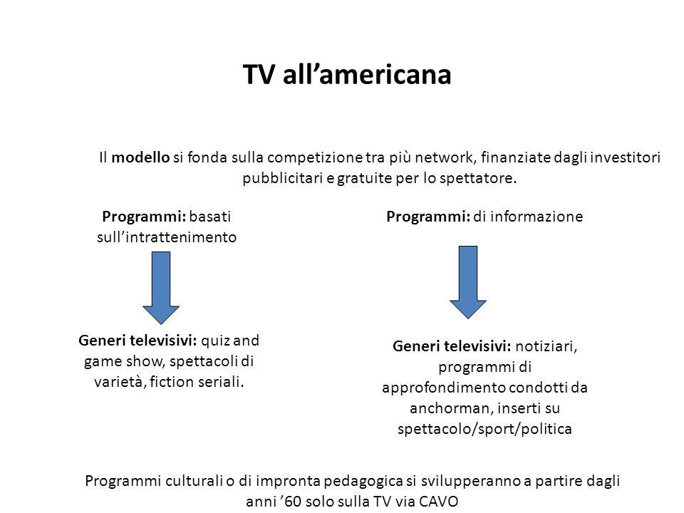 TV all'americana Il modello si fonda sulla competizione tra più network, finanziate dagli investitori pubblicitari e gratuite per lo spettatore. Progr