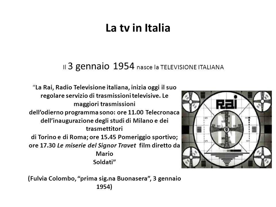 La tv in Italia Il 3 gennaio 1954 nasce la TELEVISIONE ITALIANA La Rai, Radio Televisione italiana, inizia oggi il suo regolare servizio di trasmissioni televisive.