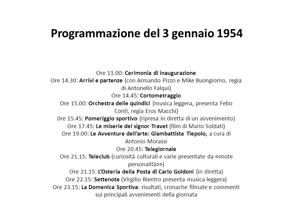 Programmazione del 3 gennaio 1954 Ore 11.00: Cerimonia di inaugurazione Ore 14.30: Arrivi e partenze (con Armando Pizzo e Mike Buongiorno, regia di An