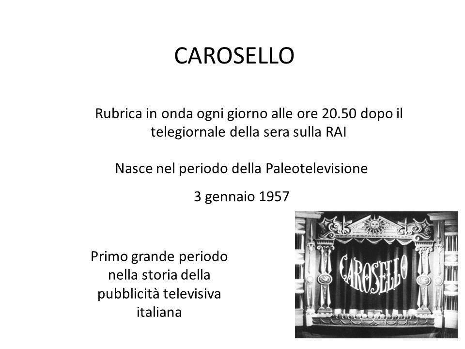 CAROSELLO Primo grande periodo nella storia della pubblicità televisiva italiana Nasce nel periodo della Paleotelevisione 3 gennaio 1957 Rubrica in on