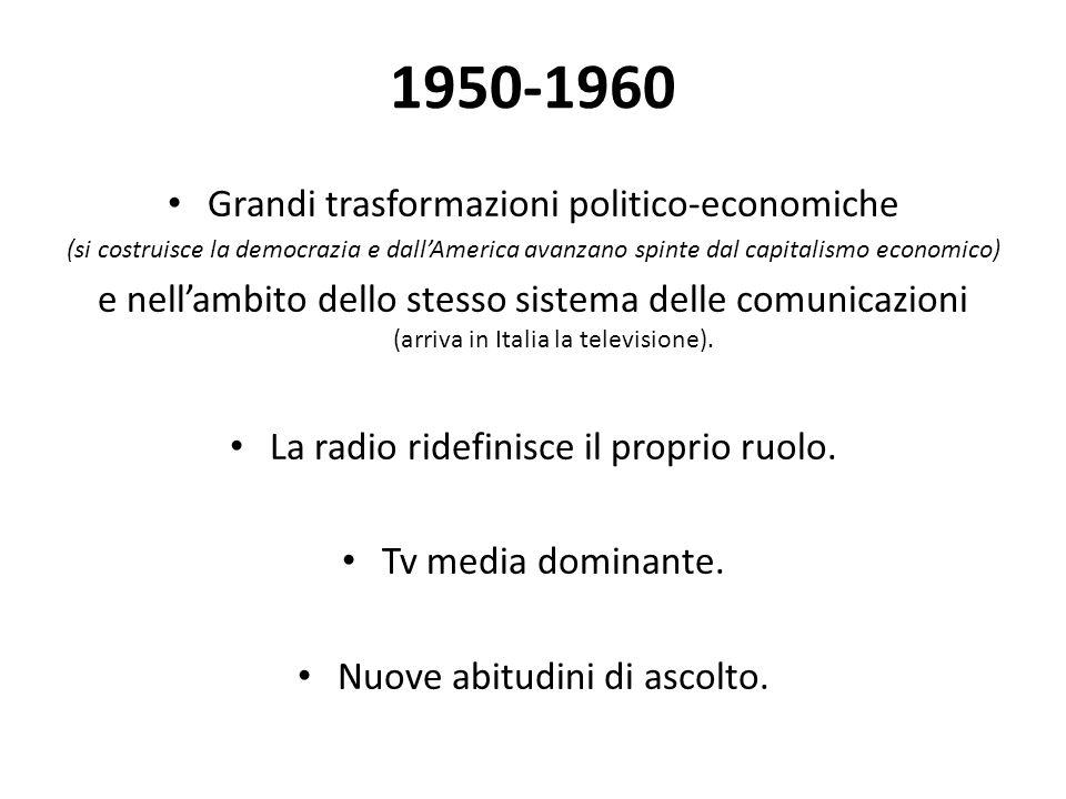 1950-1960 Grandi trasformazioni politico-economiche (si costruisce la democrazia e dall'America avanzano spinte dal capitalismo economico) e nell'ambito dello stesso sistema delle comunicazioni (arriva in Italia la televisione).