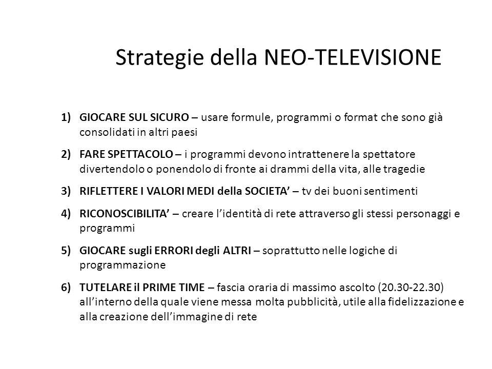 Strategie della NEO-TELEVISIONE 1)GIOCARE SUL SICURO – usare formule, programmi o format che sono già consolidati in altri paesi 2)FARE SPETTACOLO – i