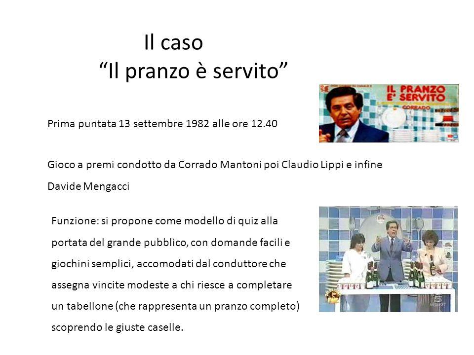 """Il caso """"Il pranzo è servito"""" Prima puntata 13 settembre 1982 alle ore 12.40 Gioco a premi condotto da Corrado Mantoni poi Claudio Lippi e infine Davi"""