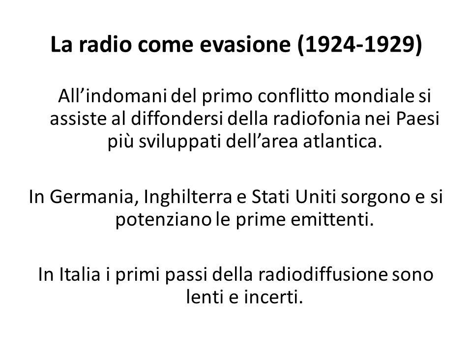 La radio come evasione (1924-1929) All'indomani del primo conflitto mondiale si assiste al diffondersi della radiofonia nei Paesi più sviluppati dell'area atlantica.