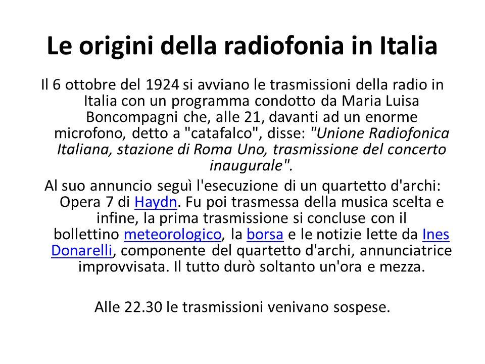 Le origini della radiofonia in Italia Il 6 ottobre del 1924 si avviano le trasmissioni della radio in Italia con un programma condotto da Maria Luisa Boncompagni che, alle 21, davanti ad un enorme microfono, detto a catafalco , disse: Unione Radiofonica Italiana, stazione di Roma Uno, trasmissione del concerto inaugurale .