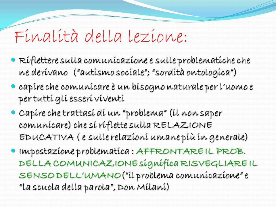 COMUNICAZIONE PROBLEMA Come PROBLEMA 1.EDUCATIVO (cosa si dice,perché …) 2.