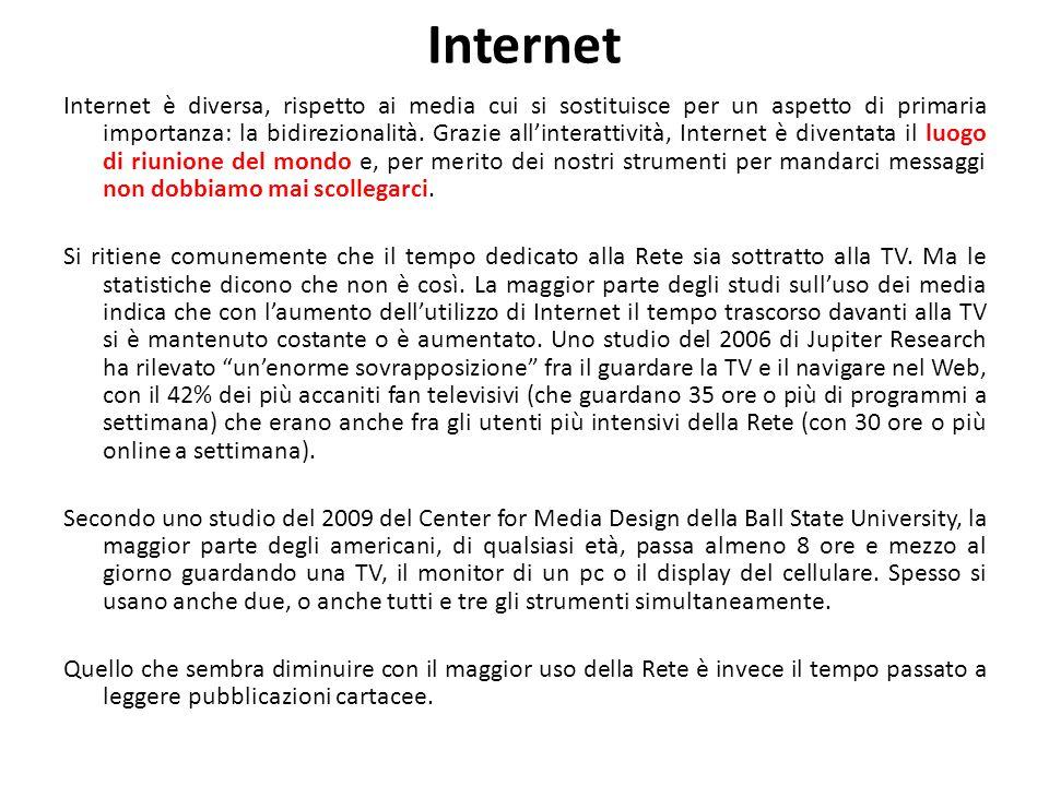 Internet Internet è diversa, rispetto ai media cui si sostituisce per un aspetto di primaria importanza: la bidirezionalità. Grazie all'interattività,