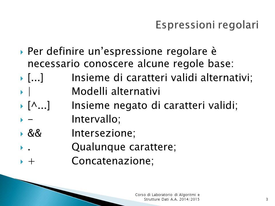  Per definire un'espressione regolare è necessario conoscere alcune regole base:  [...]Insieme di caratteri validi alternativi;  |Modelli alternativi  [^...]Insieme negato di caratteri validi;  - Intervallo;  && Intersezione; .