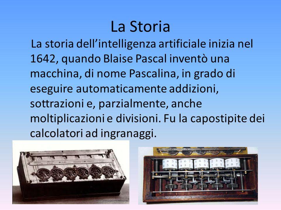 La Storia La storia dell'intelligenza artificiale inizia nel 1642, quando Blaise Pascal inventò una macchina, di nome Pascalina, in grado di eseguire