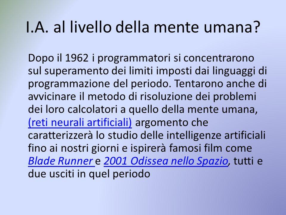 I.A. al livello della mente umana? Dopo il 1962 i programmatori si concentrarono sul superamento dei limiti imposti dai linguaggi di programmazione de