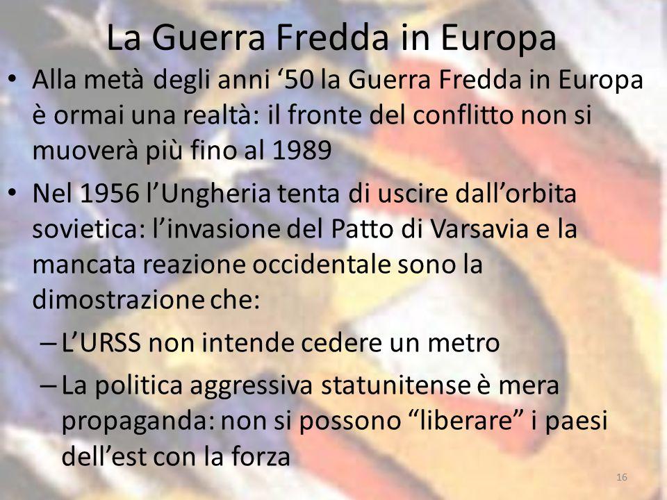 La Guerra Fredda in Europa Alla metà degli anni '50 la Guerra Fredda in Europa è ormai una realtà: il fronte del conflitto non si muoverà più fino al