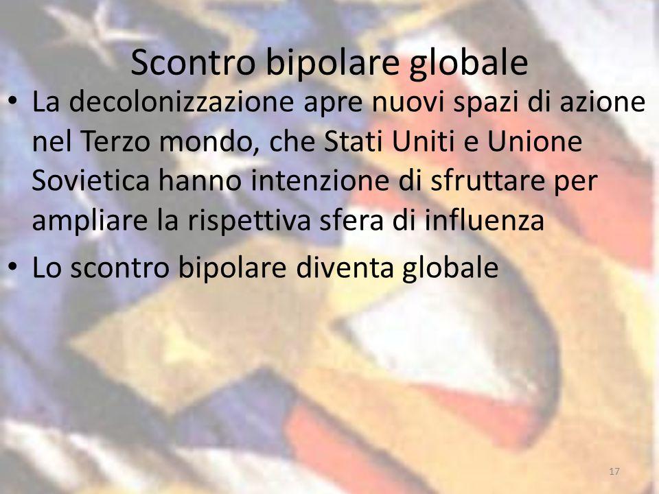 Scontro bipolare globale La decolonizzazione apre nuovi spazi di azione nel Terzo mondo, che Stati Uniti e Unione Sovietica hanno intenzione di sfruttare per ampliare la rispettiva sfera di influenza Lo scontro bipolare diventa globale 17